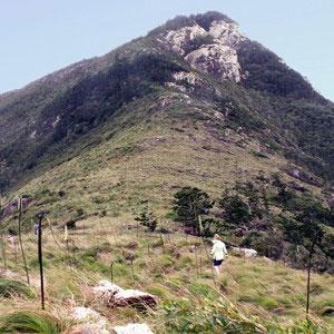Walker on the grassy island ridge, Mosstrooper Peak, that overlooks Cateran Bay on Border Island