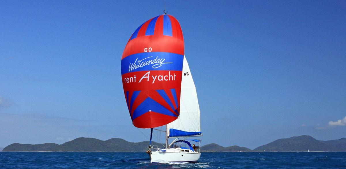 A Whitsunday Rent A Yacht charter yacht sailing off the Whitsunday coast